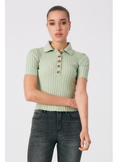 Robin Polo Yaka Düğme Detaylı Triko Mint Yeşil